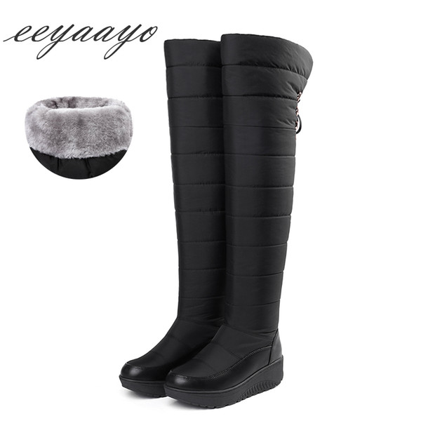 2018 New Winter Women Over-The-Knee Boots Wedge Middle Heel Round Toe Sexy Ladies Women Shoes Black Down Snow Tight High Boots