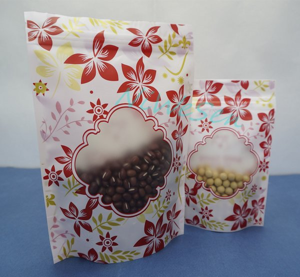 100pcs/lot, 14x20cm Self-standing red flower printing plastic ziplock bag with window, matte clear pack clothes button zipper pouch