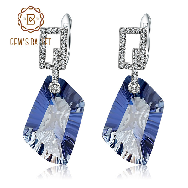 GEM'S BALLET 42.40Ct Natura Iolite Blue Mystic Quartz Gemstone Drop Earrings 925 Sterling Silver Fine Jewelry for Women Y18110110