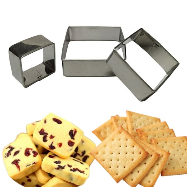 WS Stainless Steel Square Mousse Ring 3D Biscuit Cookie Cutter Mold DIY Baking Pastry Tools 3PCS