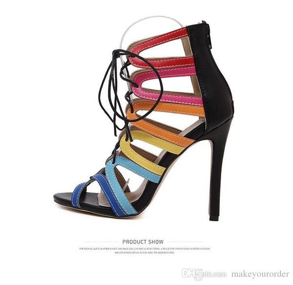 wholesaler free shipping factory price hot seller fashion hollow Bandage Knot Cut-Outs women high heel shoe