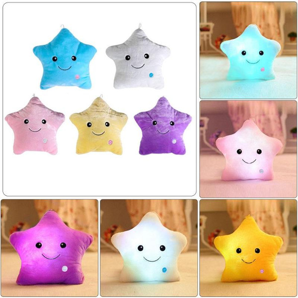 Comfortable Colorful Body Pillow Star Glow LED Luminous Light Pillow Cushion Soft Relax Gift Smile 5 Colors 2018