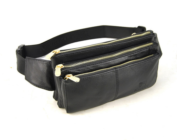 Men Women Genuine Real Leather Classic Zip Fanny Belt Waist Bag Travel Casual Daily Purse Bum Cellphone Mobile Practical Pouch