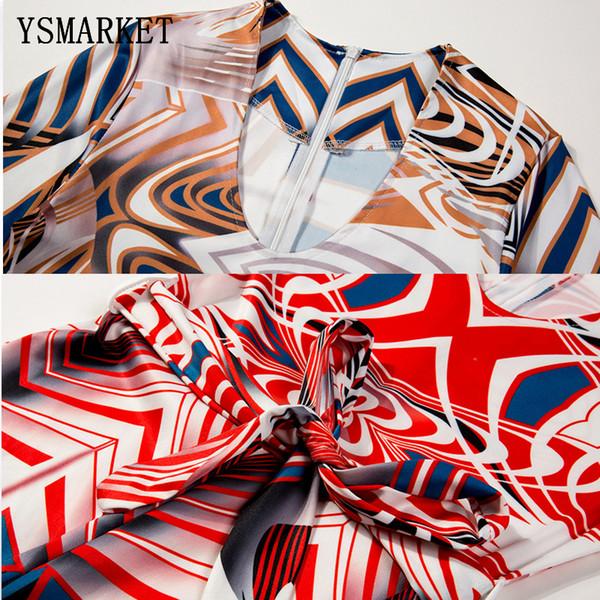 22018 Nuevo diseño de impresión geométrica con cinturón Jumpsuit Sexy pierna ancha Leotard pantalones Romper mujeres High Wasit Playsuit EK9081