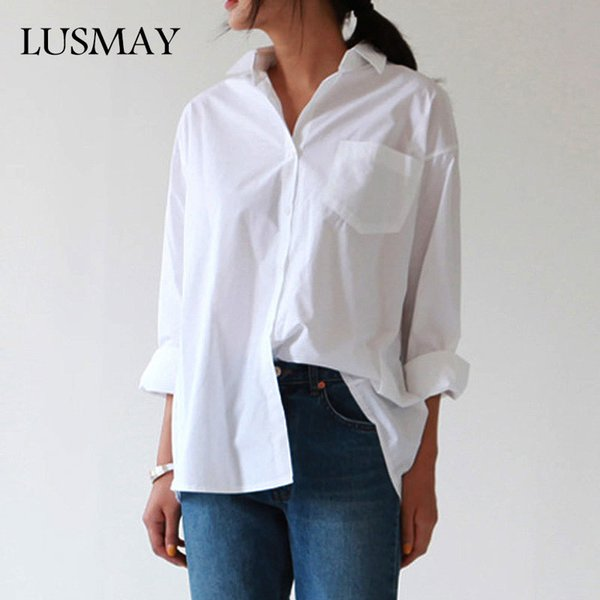 Casual Loose Women Shirts 2018 Autumn New Fashion Collar Plus Size Blouse Long Sleeve Buttons White Shirt Women Tops Streetwear S915