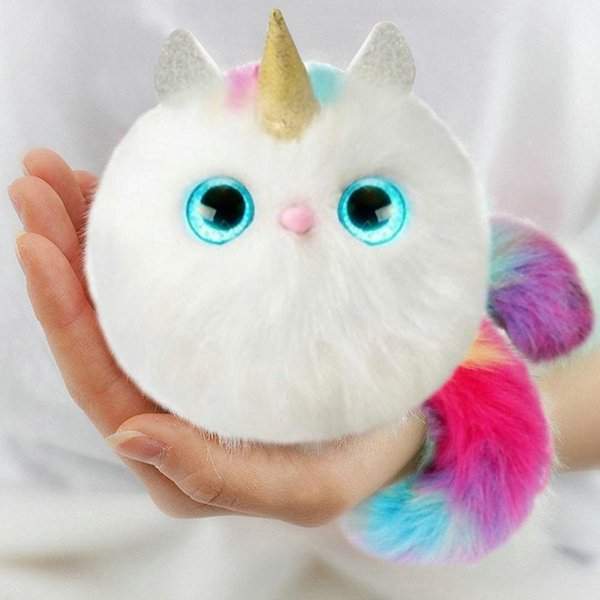 020 Pom sies Patches Plush Interactive Pinky Toys With Brush Tickle Cuddle Dance Eyes Color Changing Lovable Wearable Kids Christmas Gifts