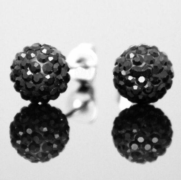 High quality 925 Sterling Silver Shambala Ball Stud Earrings Fashion Jewelry Diamond Crystal Disco Beads Earings Free Shipping