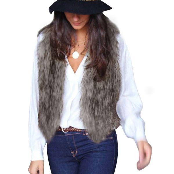 Hot Sale Women Vest Sleeveless Coat Outerwear Long Hair Jacket Waistcoat chaleco chaqueta