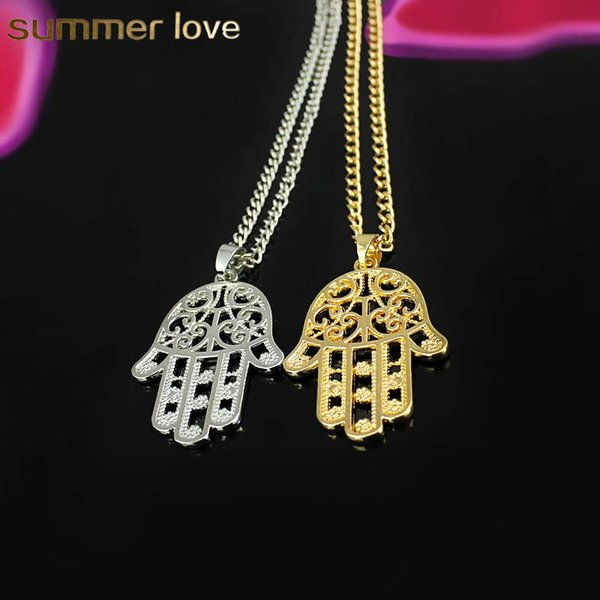 Hot sale Design Hand Palm Shape Sliver & Gold Color Pendants Necklace For Women Lucky Fatima Hamsa Hand Necklace Chain Gift Jewelry