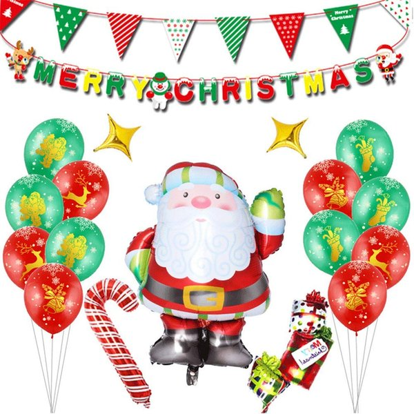 DIY Christmas Flags Santa Claus Balloon Set Floral Bunting Banners Merry Christmas Decoration Home Party Decoration Supplies