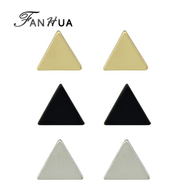 FANHUA 3pairs/set Gold-Color Silver Color Black Color Small Triangle Stud Earrings Punk Rock Earrings Brincos Minimalist Jewelry