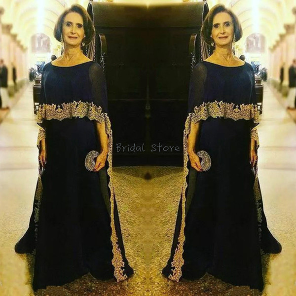 Summer Elegant Navy Blue Mother Of The Bride Dresses With Cape Scoop  Chiffon Full Length Long Groom Mom Evening Gowns Applique Lace Dubai Plus  Size ...