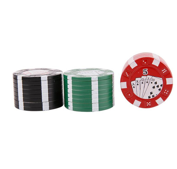 Small chips, playing cards, cigarette cutter, zinc alloy, 3 layer metal grinder, portable sharper tooth 40mm grinder.
