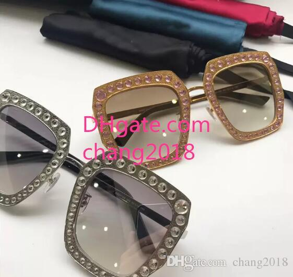 top qualit New fashion designer women sunglasses 0115 metal square frame mosaic shiny crystal colorful diamond UV400 lens with original box