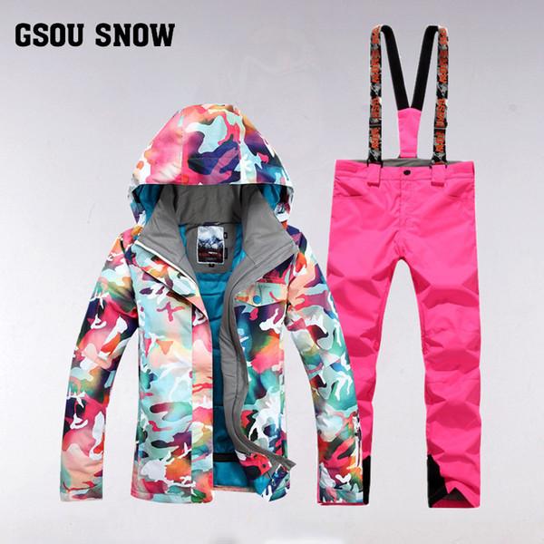 GSOU SNOW Women's Ski Suit Winter Outdoor Windproof Waterproof Thick Warm Breathable Ski Jacket Pants Size XS-L