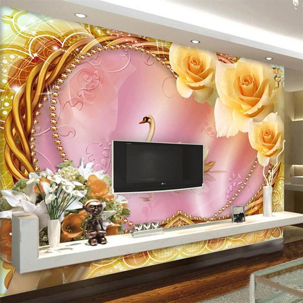 Großhandel Benutzerdefinierte Fototapete 3D Stereo Vlies Romantische Rose  Schwan Liebe Wohnzimmer Sofa TV Hintergrund Wandbild Tapete Schlafzimmer  Von ...
