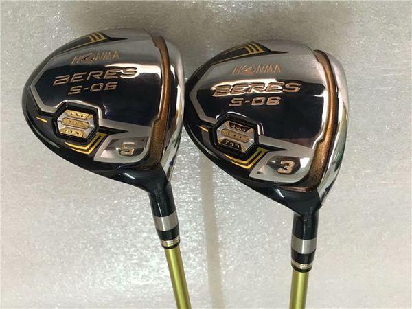 3 stelle Honma S-06 Fairway Woods Honma S-06 Golf Woods Mazze da golf di alta qualità # 3 / # 5 Albero in grafite con coperchio per la testa