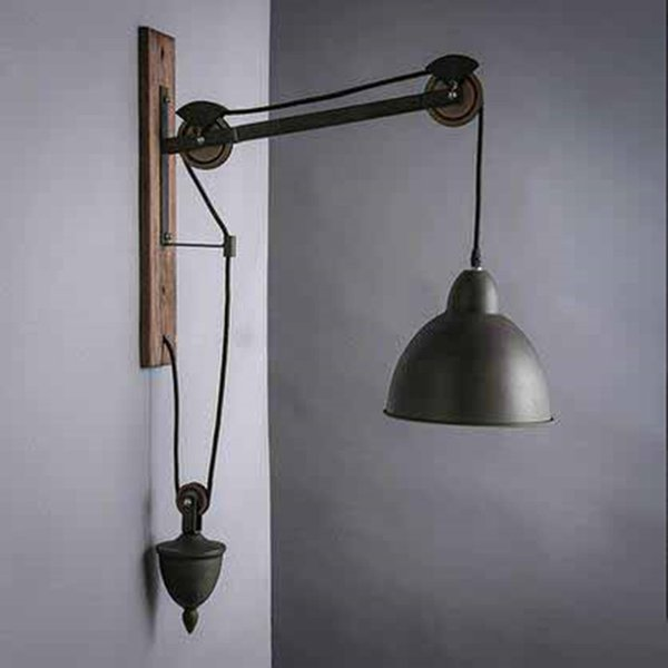 American country style wall light industry retro bar creative single head pulley lift stairs bedroom wall lamp