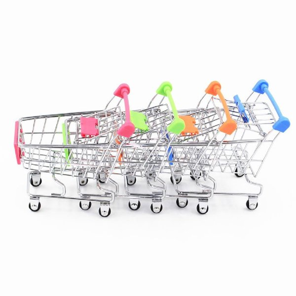 Wholesale 6 color Mini Supermarket Handcart Utility Shopping Cart Mode Storage Organizer Chidren Gift Kids Toy Christmas
