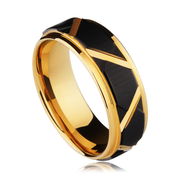 Fashion 8mm Tungsten Carbide Wedding Ring Black Faceted Design Mens Band Gold Plating Jewelry