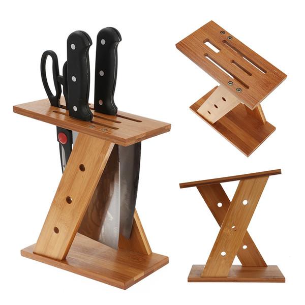 Cocina Bamboo Tool Holder Cuchillo de Almacenamiento en Forma de Cruz en Forma de Agujeros Multifuncionales Cuchillo Bloque Estante de Cocina Soporte de Cuchillo Al Por Mayor NB