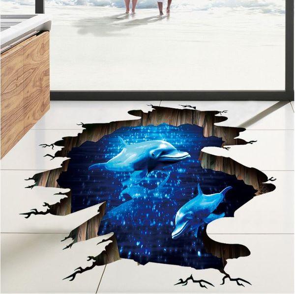Adesivos 3D Azul profundo fantasma golfinho PVC Wallpapers Adesivos De Parede Pode Ser Removível Artes Murais de Parede À Prova D 'Água Home Decor Frete Grátis
