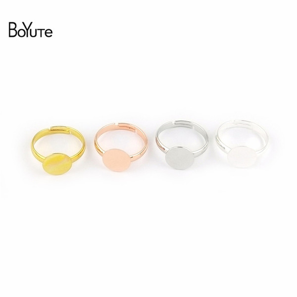 BoYuTe 30Pcs 7 Colors Plated Round 6 MM 8 MM 10MM Cabochon Base Ring Setting Diy Adjustable Ring Base Jewelry Findings Components