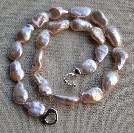 Collana di perle nucleate, collana di perle d'acqua dolce genuine barocche lavanda, nuovo trasporto libero