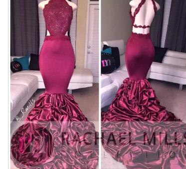 Burgundy Mermaid Long Prom Dresses 2017 African Lace Appliqued Sleeveless Open Back Sequins Ruffled Sweep Train Evening Party Gowns