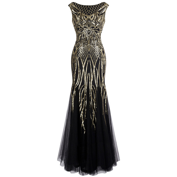 best selling Angel-fashions Women's Pattern Sequin Bateau Cap Sleeve Flapper Mermaid Evening Dress Party Dresses Prom Gown Black Gold 377