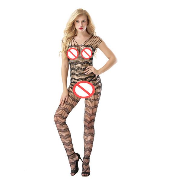 Exótico Lingerie Catsuit Trajes Mulheres Spandex Oco Translúcido Mesh Corpo Meias Arrastão Sexy Coxa Alta Do Corpo Meia Noite Roupa Quente