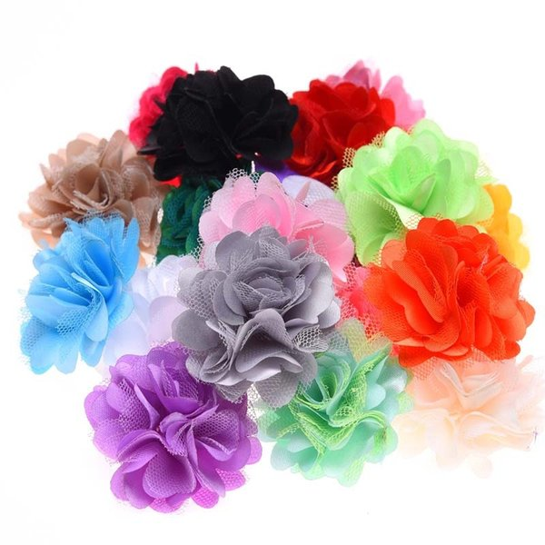 Nishine 120pcs/lot Satin Mesh Flowers Handmade Artificial Flowers for Headbands DIY Flower Hair Accessories No Hair Clip Hair Bows