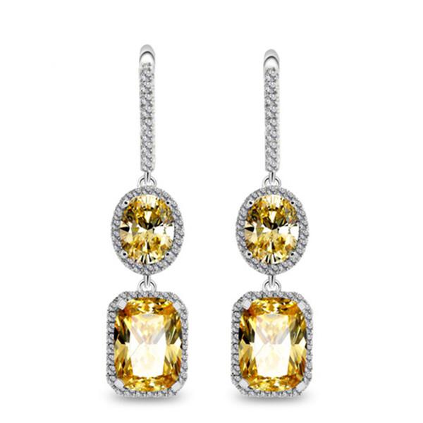 Nouveau boucles d'oreilles carrées 4A zircon double pendentif tendance de la mode féminine