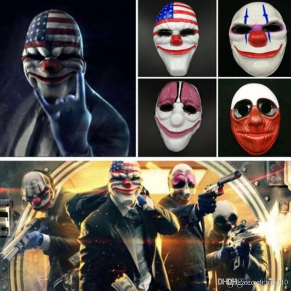 Hot Halloween Clown Mask Game Payday 2 Chains Dallas Wolf Hoxton Costume Dress Props Cosplay Party Mask Plastic mask IB322