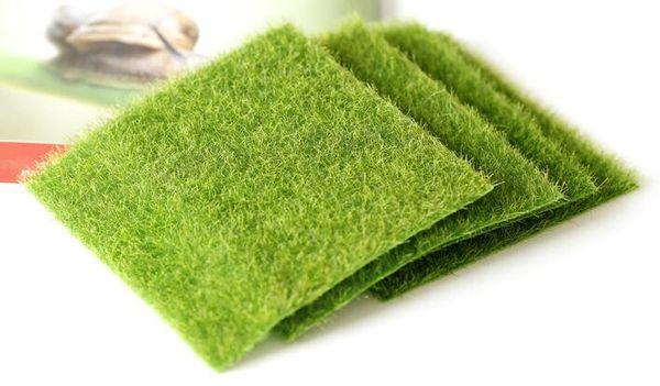 Nova Plástico Artificial Grama Verde DIY Falso Musgo Miniatura Jardim Ornamento Artesanato 15x15 cm