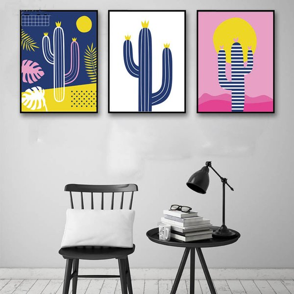 Wall Art Modern Home Pictures Printing Nordic Style Decoration Canvas Poster Plant Cactus Paintings For Children Room Or Bedroom