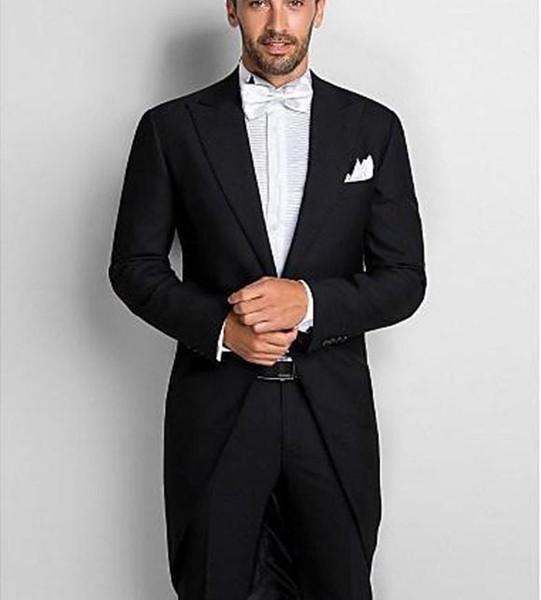 Morning Style Peak Lapel Black Tailcoat Men Wedding Tuxedos Excellent Groom Tuxedos Men Formal Dinner Prom Suit (Jacket+Pants+Tie+Girdle)197
