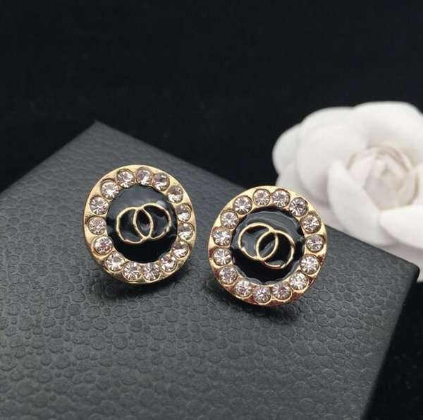 New fashion ladies high-grade geometric rhinestone letters earrings ear clips gift party accessories