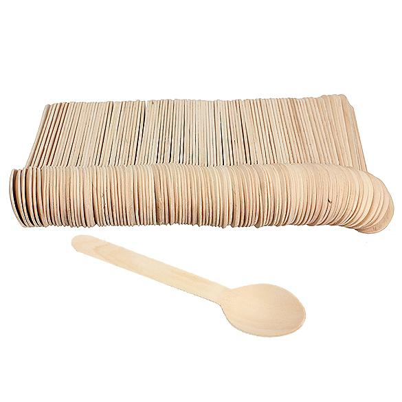 100Pcs Disposable Wooden Spoon Mini Ice Cream Spoon Wood Western Dessert Scoop Wedding Party Tableware Kitchen Accessories