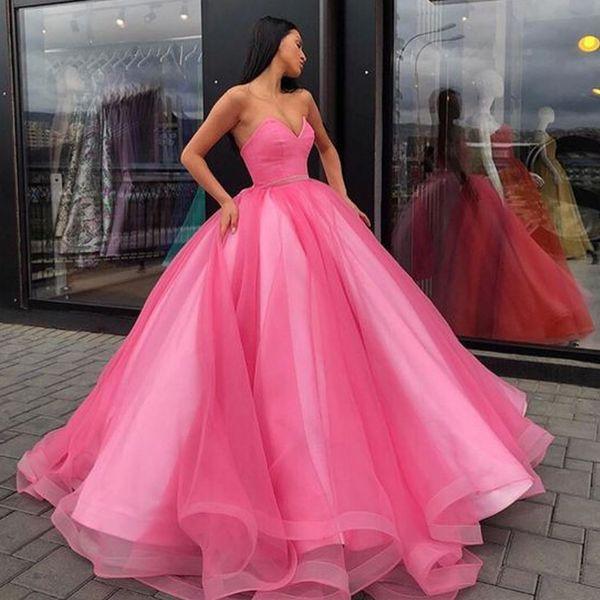 Compre 2019 Princesa Rosa Tul Vestidos De Quinceañera Puffy Vestido De Bola Amor Sin Mangas Ajuste Y Llamarada Vestidos Formales Por Encargo Dulce 16