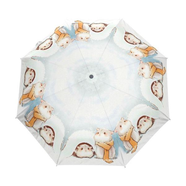 Ультра-легкий так мило Хомяк дети дождь зонтик прекрасный животных автоматический три складной зонтик для женщин ветрозащитные зонтики