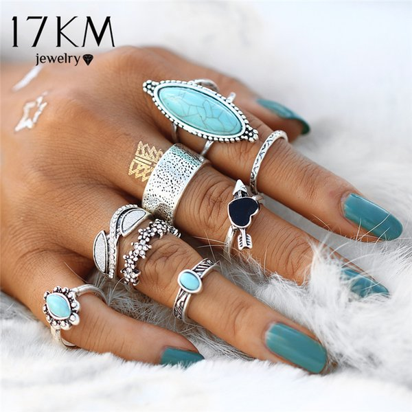 whole sale17KM Vintage Big Stone Midi Ring Set For Women Antique Silver Color Heart Flower Knuckle Rings Boho Jewelry Anillos 8 PCS/Set
