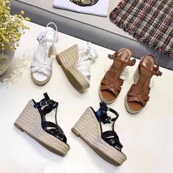 أبيض بني أسود جلد طبيعي منصة صندل أحذية الصيف المرأة كريسس عبر حزام سميكة أسفل إسفين الكعب العالي أحذية Sandalias موهير