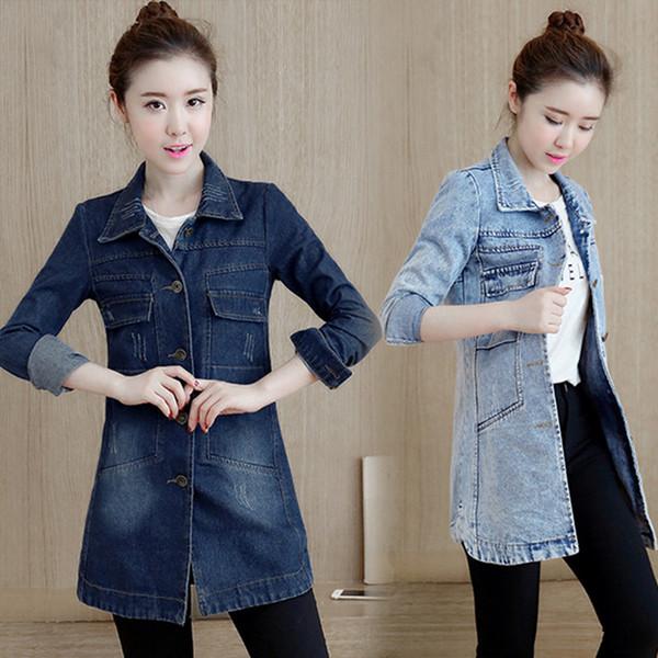 Neue Frühling Herbst Frauen Mäntel Vestido Plus Größe Casual Umlegekragen Taschen Feste Jeans Mantel Für Frauen Große Denim Graben