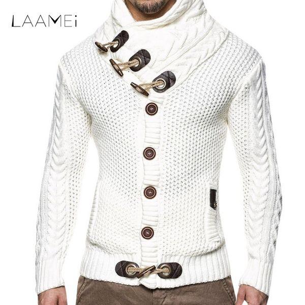 LAAMEI 2018 Sonbahar Kış Moda Rahat Hırka Kazak Ceket Erkekler Gevşek Fit Sıcak Örme Giyim Kazak Mont Erkek Düğme Üst