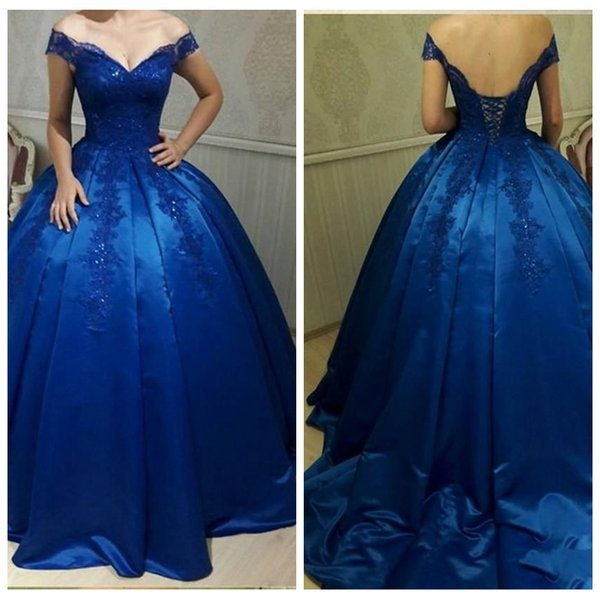 Gorgeous V Neck Ball Gown Evening Dresses 2018 Sexy Backless Lace Up Royal Blue Appliques Beaded Prom Dress Evening Party Gowns