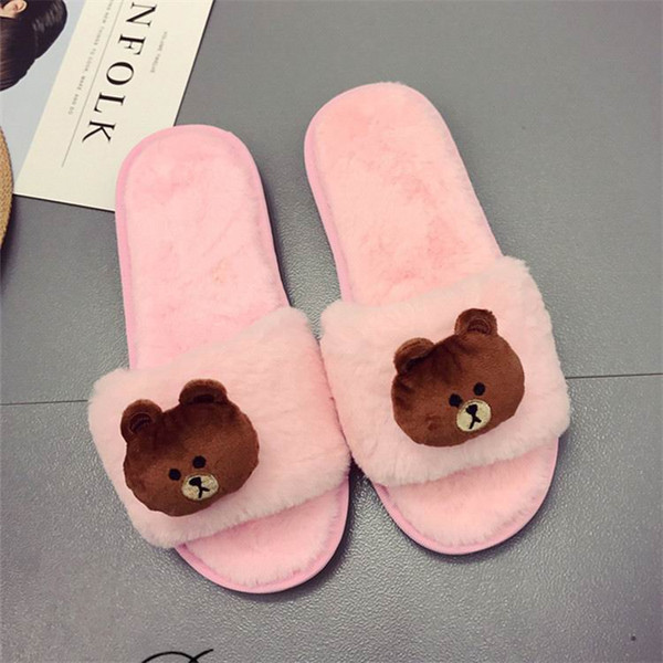 ERRFC New Arrival Fashion Women Warm Slippers Japan Kawaii Bear Head Ladies Casual Flat Slides Fur Slippers For Woman Indoor