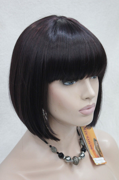Black and Red Wine mix skin dot short straight bangs synthetic women's BoBo wig