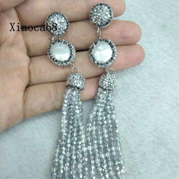 Handmade Silver Rhinestone Long Earrings Women Nature Pearl Earring 2017 Vintage Big Drop Beaded Earrings for Women Jewelry Gift C18111901