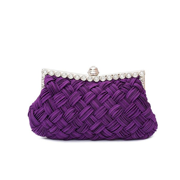 Evening Weaved 2019 Fashion Satin Beaded Crystal Knitted Clutch Evening Bags bride clutch with Chains tote party bag for evening dress 2 st